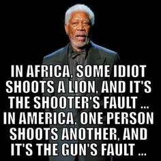 Liberal Logic: In Africa, some idiot shoots a lion and it's the shooter's fault.In America, one person shoots another and it's the guns fault. Cogito Ergo Sum, Wisdom Quotes, Me Quotes, Funny Quotes, Crazy Quotes, Badass Quotes, Truth Hurts, It Hurts, Great Quotes