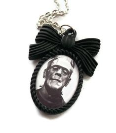 Frankenstein Necklace Black Cameo Horror by KitschBitchJewellery