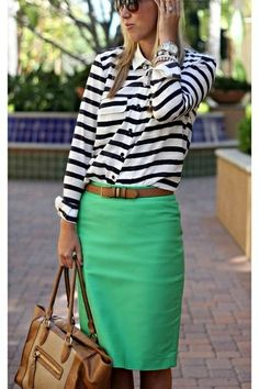 White & black, striped shirt and green pencil skirt