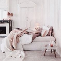 A touch of blush with white and marble.