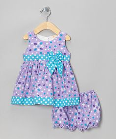 Another great find on #zulily! the Mini Sissy Purple Dot Dress & Bloomers - Infant by the Mini Sissy #zulilyfinds