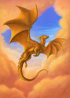 Dragon of the Golden sunrise by AlviaAlcedo gold copper monster beast creature animal: click artwork for source Magical Creatures, Fantasy Creatures, Dragon Artwork, Dragon Drawings, Wolf Drawings, Dragon Sketch, Beast Creature, Cool Dragons, Dragon's Lair