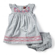 Bishaka Embroidered Chambray Dress for Baby Girls | Tea Collection
