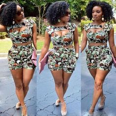 2016 fashion set women two piece outfits pants crop top and hot pants set short sleeve sexy ensemble femme vestidos bodycon African Attire, African Wear, African Women, African Style, African Inspired Fashion, African Print Fashion, Ankara Fashion, New Fashion Trends, Fashion Updates