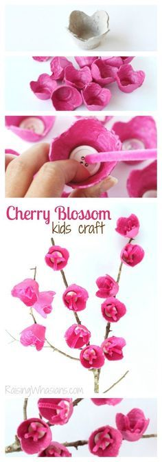 Cherry Blossom Craft for Kids   Upcycle old egg cartons into kids crafts! Easy…