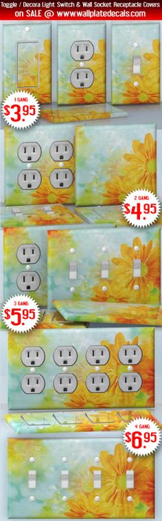 DIY Do It Yourself Home Decor - Easy to apply wall plate wraps | Autumn Blooming  Yellow and orange little flowers  wallplate skin stickers for single, double, triple and quadruple Toggle and Decora Light Switches, Wall Socket Duplex Receptacles, and blank decals without inside cuts for special outlets | On SALE now only $3.95 - $6.95