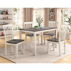 Claremont Brody 5-Piece Dining Set in White and Grey   Nebraska Furniture Mart White Dining Room Sets, Luxury Dining Room, 5 Piece Dining Set, Dining Sets, Fast Furniture, Dining Furniture, Furniture Design, Contemporary Dining Table, Dinette Sets