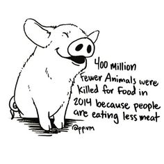 """YASSSSS!!!! *400 million* fewer animals slaughtered because of vegans, vegetarians, and people cutting back on meat. Let's keep this trend going!!!"" Photo taken by @veganoutreach on Instagram, pinned via the InstaPin iOS App! http://www.instapinapp.com (08/28/2015)"