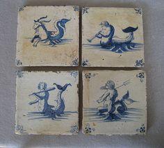 4 Antique Delft Tiles with Sea Creatures, Gods, Mermen ~ 17th Century