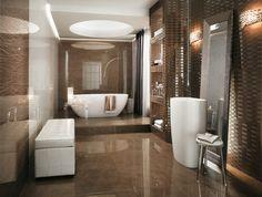 azulejos baño color marron brillante