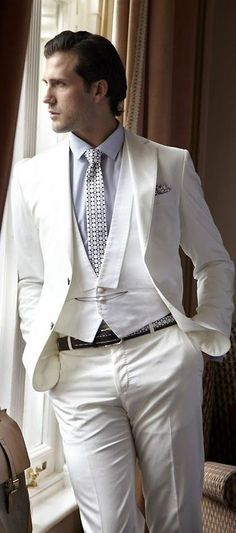 Sharp Dressed Man, Well Dressed Men, White Casual, Men Casual, Fashion Moda, Mens Fashion, Fashion Trends, Stylish Suit, White Suits
