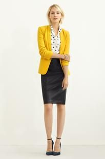 Workweek chic | Piperlime  Bright yellow blazer, vegan leather skirt, and a splash of polka dot. With killer ankle-strap stilettos, of course. Love.