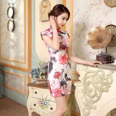 Short length Cotton-Linen Fabric Cheongsam Qipao Chinese dress LGD56-01