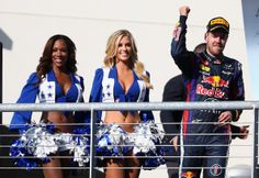 Sebastian Vettel Photos - Sebastian Vettel of Germany and Infiniti Red Bull Racing celebrates on the podium after winning the United States Formula One Grand Prix at Circuit of The Americas on November 2013 in Austin, United States. - Grand Prix of USA Mark Webber, Nfl Cheerleaders, Cheerleading, F1 2013, Apocalypse Now, Lakers Girls, Circuit Of The Americas, Making The Team, Texas