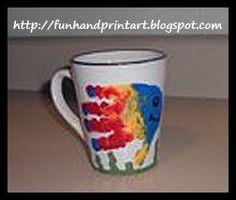Handprint Fish Coffee Mug gift for grandpa