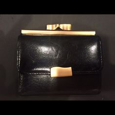 Vintage Bechamel Black Leather Wallet So cute for travel! Small but folds out to be a pretty big & functional wallet! Some natural wear from time & scratches but never used. Bechamel Bags Wallets