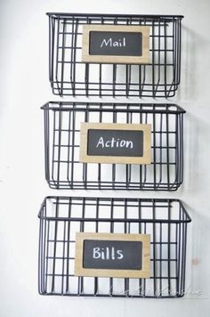Transform wire baskets into a simple command station to organize your home!