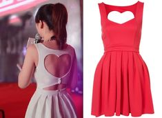 Cut Out Back Heart Backless Dress
