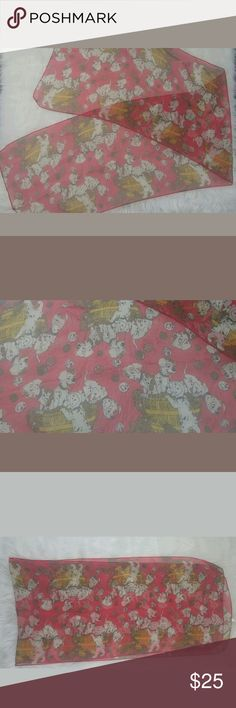 """Disney 101 Dalmatians VTG Sheer Polyester Scarf 101 Dalmatians Vintage Sheer Polyester Scarf. Item is in pre owned condition. No rips or stains. Item comes from smoke free home.? Measurements:? 14""""X48"""" Accessories Scarves & Wraps"""