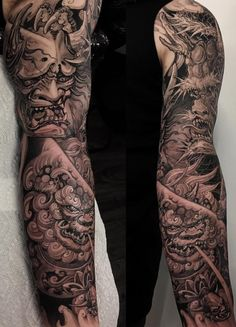 Dragon and tiger holding hannya mask sleeve completed 👹🥋🐲 Japanese Tattoo Art, Japanese Sleeve Tattoos, Full Sleeve Tattoos, Sleeve Tattoos For Women, Tattoo Sleeve Designs, Foo Dog Tattoo Design, Japan Tattoo Design, Glyph Tattoo, Mask Tattoo