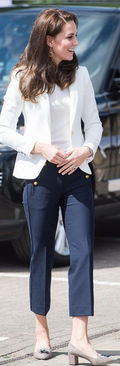 Kate's outfit: Jacket – Zara, Pants – J Crew, Earrings – Cartier