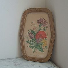 vintage signed gold framed  floral print by ImSoVintage on Etsy, $24.00