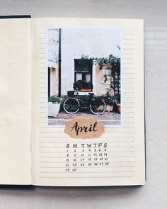 White background of my April spread 2018. #journal #april #2018 #spring