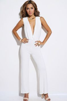#1015store.com #fashion #style bright white convertible bow tie backless evening party jumpsuit-$30.00