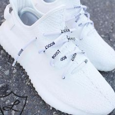 shoes - New Release, Laced Up Exclusive White rope lace with woven BOOST text Featuring white plastic logo aglets Due to the type of weave necessary to match a yeezy lace the aglets on these laces do not fit adidas Ultraboost It does fit all Adidas NMD Moda Sneakers, Adidas Sneakers, Shoes Sneakers, Adidas High, Women's Shoes, Adidas Nmd Outfit, Sneakers Workout, Shoes Jordans, Shoes Style