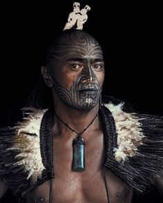 Dreamt I had a face tattoo similar to this and I put my contemporary glamour make-up on top of it. A small male child feared me. Maori People, New Zealand. Photo by Jimmy Nelson | Yellowtrace
