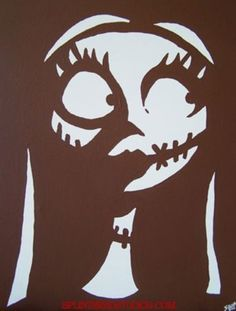 Here's a template or stencil or Sally fro Nightmare Before Christmas if you want to put on a dress or shirt or tie