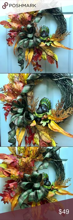 """Thanksgiving Turkey 'Harvest Blessings' Wreath Celebrate the season with this gorgeous handmade Wreath by Pennsylvania artist Alyson C Laskas!    Measures approximately 20x26x6"""" tip-to-tip Barefoot Aly Artworks Original Other"""