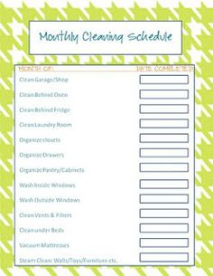 Weekly Cleaning Calendar