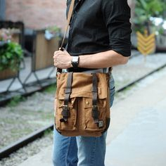 Vintage Vertical Soldier Canvas Cross Body Bags for men or women