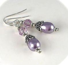 Swarovski Purple Pearl Earrings Crystal Mauve by AzureTreasures, $26.00