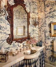 papered powder rooms - powder room with blue and white toile wallpaper - pinterest via Atticmag