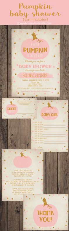 Girl pumpkin baby shower invitation, pink and gold, digital, printable