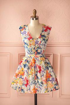 18c890e473 Diora - Colorful flower print shoulder padded dress Shoulder Pad Dress