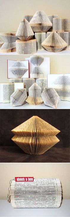 May 2 project. Mine looks like the center photo. I've seen versions where words are folded into the pages. Must try.