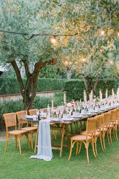 This Couple Got Married at Sting's Villa in Tuscany and It Was Nothing Short of Spectacular. Ideas for a beautiful al fresco wedding reception, surrounded by olive trees. Tuscany is a dream place to get married in Italy. Tuscany Wedding Venue, Italy Wedding, Long Table Wedding, Wedding Reception, Wedding Bride, Dream Wedding, Wedding Dresses, Wedding Table Decorations, Wedding Table Settings