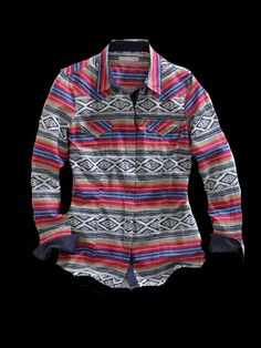 Tin Haul® Women's Multi-Color Aztec Blanket Ombre Long Sleeve Snap Cowgirl Shirt
