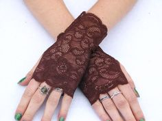 Lace fingerless gloves in Cocoa Chocolate Brown by Steampunkwolf, $15.00