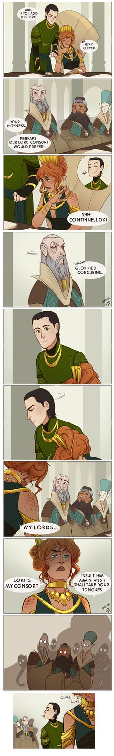 This is Loki x Sigyn Consort AU (not how normally see Loki and Sigyn- this is separate!) stuff where Loki ge. All Hail the Consort Loki Thor, Loki And Sigyn, Tom Hiddleston Loki, Marvel Dc Comics, The Avengers, Marvel Avengers, Loki Laufeyson, Sigyn Marvel, Funny Marvel Memes