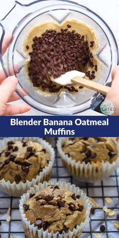 Muffins made with no flour no butter and no oil! This healthier banana oatmeal muffins recipe is made in a blender. Theyre moist and delicious! - Blender - Ideas of Blender Low Calorie Muffins, Low Calorie Baking, Low Calorie Desserts, Banana Oatmeal Muffins, Chocolate Chip Muffins, Chocolate Chip Oatmeal, Healthy Muffin Recipes, Healthy Muffins, Healthy Snacks