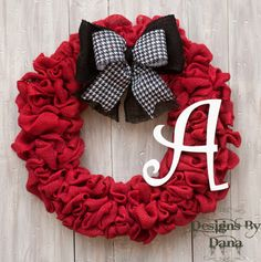 Red Burlap Wreath by Designs By Dana