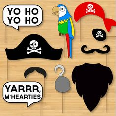 DIY Pirate Photo Booth Props - Moustaches, Beards, Hats, Speech Bubbles - Printable, Digital, Photobooth. $4.00, via Etsy.