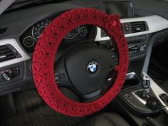 Crochet Steering Wheel Cover Wheel Cozy with a Flower - burgundy
