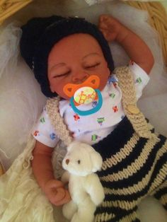 Completed Bi Racial Completed Reborn Baby Doll Marcus from the Aisha 20 inch kit…