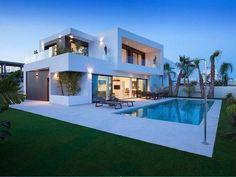 mediterranean homes exterior modern Modern Exterior House Designs, Modern Villa Design, Dream House Exterior, Modern Architecture House, Modern House Plans, Architecture Design, Modern Houses, Exterior Design, Contemporary Design