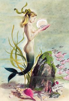 The Mermaid , by Henry O'Hara Clive. Cover art for American Weekly , March Calendar illustration by Ren Wicks, . Mermaid Cove, Mermaid Art, Mermaid Beach, Goddess Of The Sea, Pin Up, Water Nymphs, Vintage Mermaid, Mermaids And Mermen, Merfolk
